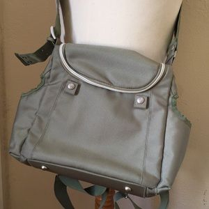 Loom designer diaper bag - light olive green